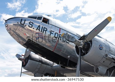 STOW, OHIO - JUNE 12: A C-47 Skytrain US Air Force passemger plane. Looking over the left wing at thr cockpit area. Taken at the Kent State University Airport Airshow on June 12, 2009 in Stow, Ohio. - stock photo