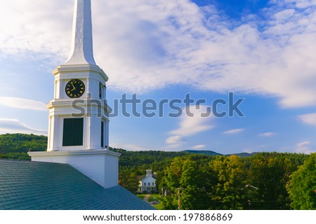 Stowe Community Church in late summer in Stowe, Vermont, USA - stock photo