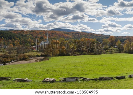 Stowe Community Church in the fall, Stowe, Vermont, USA - stock photo