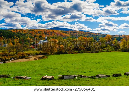 Stowe Community Church on a sunny autumn day, Stowe, Vermont, USA. - stock photo
