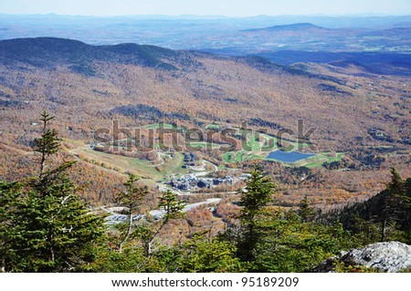 Stowe Golf Course and Resorts Aerial view, from the top of Mount Mansfield, Vermont, USA - stock photo