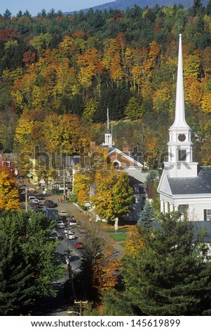 Stowe, VT in Autumn on Scenic Route 100 with church spire - stock photo