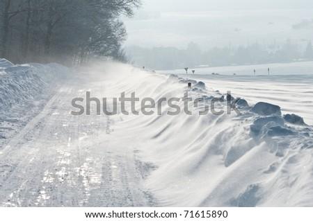 StraÃ?e, Winter, Schneeverwehung - stock photo
