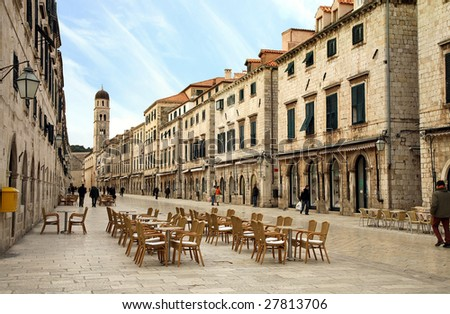 Strada of Dubrovnik. The Strada is the main shopping street and gathering area in the city of Dubrovnik in Croatia.  Main street by early morning. - stock photo