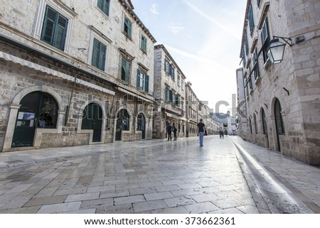 Strada of Dubrovnik. The Strada is the main street of old town Dubrovnik. - stock photo