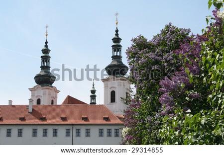 Strahov library theological hall in Prague, springtime - stock photo