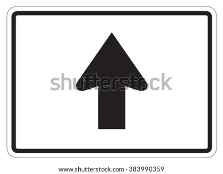 Straight Arrow Auxiliary Sign isolated on a white background - stock photo