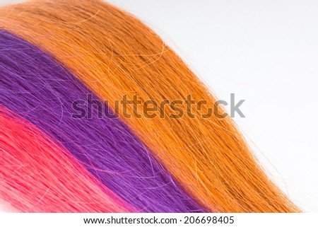 Straight Colorful Hair. Palette. Hair Salon. Gradient Background. - stock photo