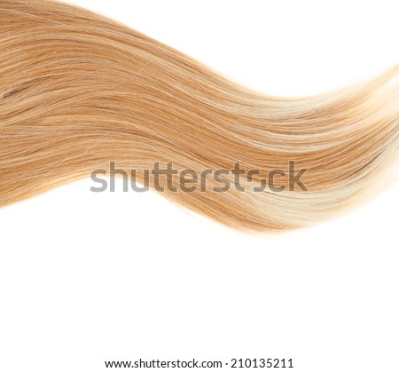 Straight hair fragment placed over the white background as a copyspace backdrop composition - stock photo