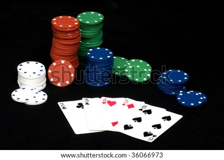Straight hand in playing poker with chips