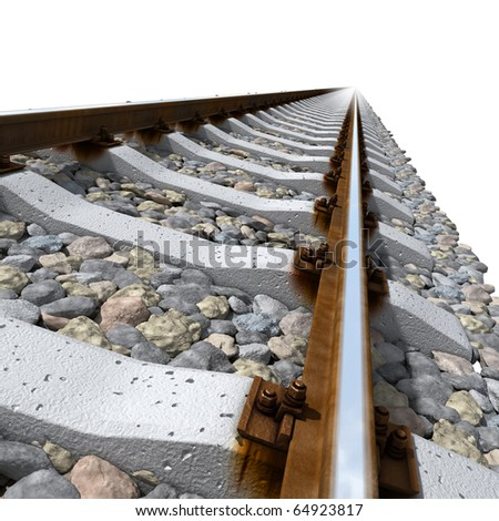 Straight-line railway tracks on the gravel with realistic rusty rails and mounts on a white background - stock photo
