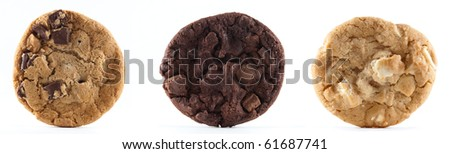 Straight on of a chocolate chip, double chocolate and macadamia nut cookie on a white isolated background.