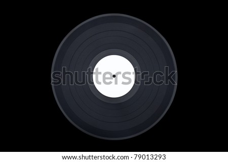 Straight on shot of a vinyl record on black