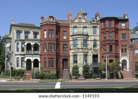 straight on version of historic DC rowhouses - stock photo
