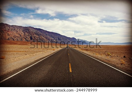 Straight open highway view - stock photo