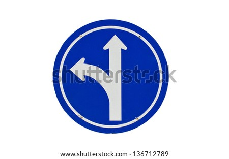 Straight or left turn ahead, traffic lane route direction isolated on white. - stock photo