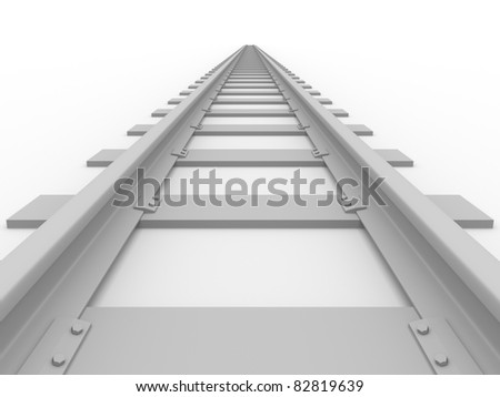 Straight Railroad. Concept of transport. 3d ilustration