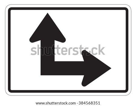 Straight/Right Auxiliary Sign isolated on a white background - stock photo