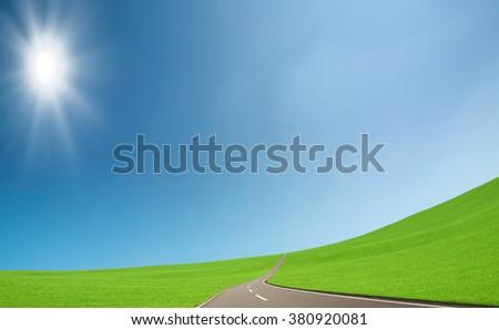 straight road - stock photo