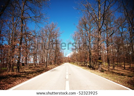 Straight road - stock photo