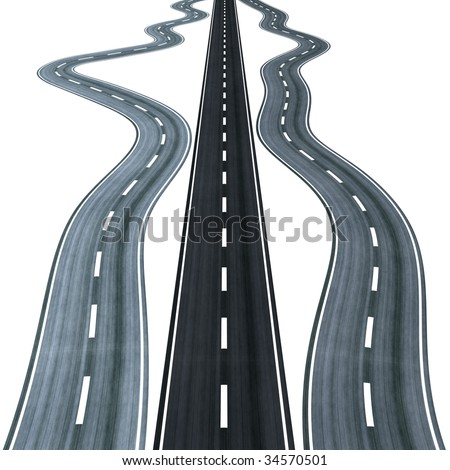 Straight road among curly ones, symbolizing the right way to choose - stock photo
