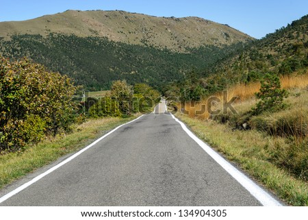 straight road in the hills of Genoa in Liguria