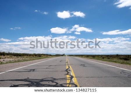 "Straight road ""Ruta 40"" North Argentina - stock photo"