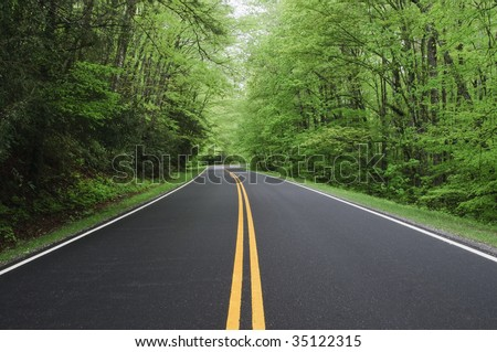 straight road vanishing into distance - stock photo