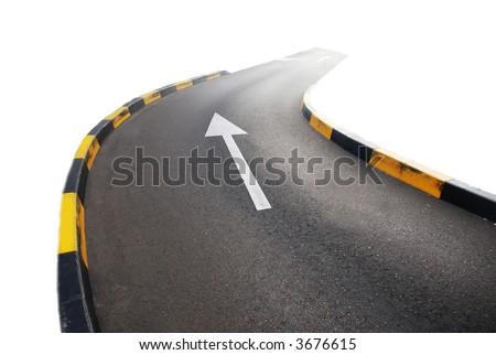 Straight Road with Arrow - stock photo