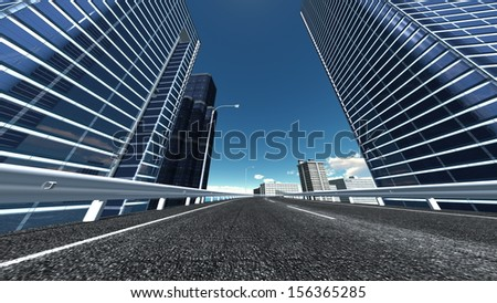Straight road with modern building - stock photo