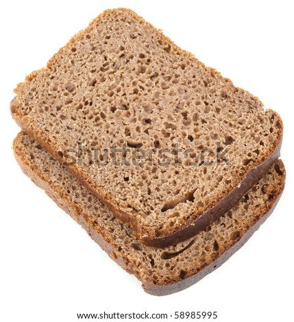 Straight rye bread, isolated on white