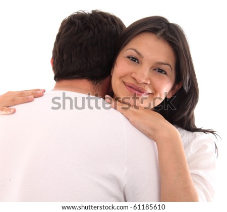 Straight shot of a happy young couple over white background