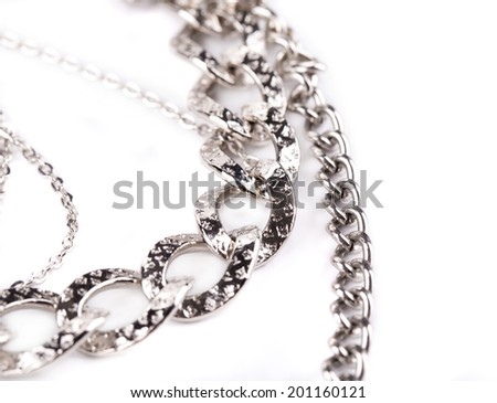 Strained chains. Isolated on a white background.