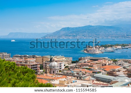 Strait between Sicily and Italy, view from Messina, Sicily - stock photo