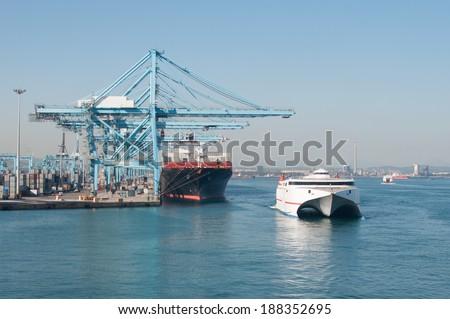 Strait of Gibraltar, port - stock photo