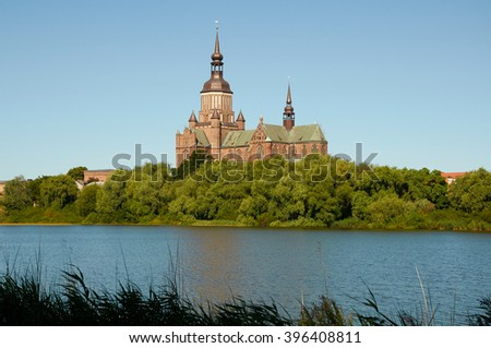 STRALSUND, GERMANY - AUGUST 13, 2015: St. Mary's Church (Marienkirche), Hanseatic city of Stralsund, Mecklenburg Western Pomerania