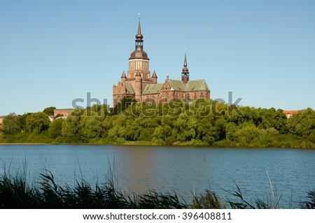 STRALSUND, GERMANY - AUGUST 13, 2015: St. Mary's Church (Marienkirche), Hanseatic city of Stralsund, Mecklenburg Western Pomerania - stock photo