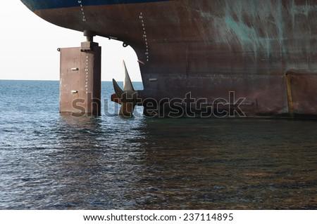 Stranded ship on the coast of black sea. - stock photo