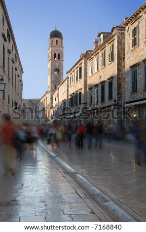 Strandon in Dubrovnik's historic old town People are blurred