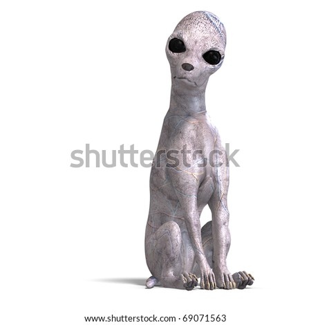 strange alien dog from area 51. 3D rendering with clipping path and shadow over white - stock photo