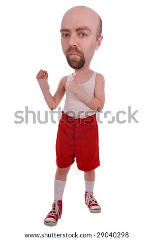 Strange boxer in red shorts and sneakers isolated over a white background - stock photo