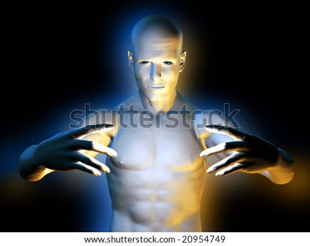 Strange magic man in hypnotic pose - stock photo