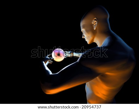 Strange magic man with colorfull hypnotic ball in hands - stock photo