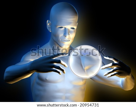 Strange magic man with hypnotic ball in hands - stock photo