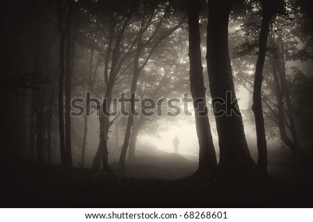 strange man person walking in a dark forest with fog - stock photo