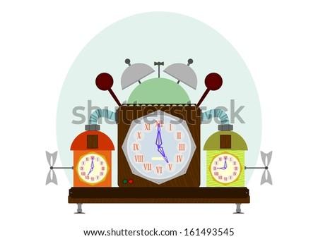 Strange old clock on a white background. - stock photo