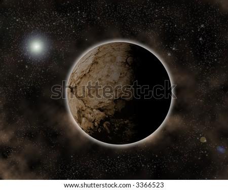 strange planet in unknown universe - stock photo