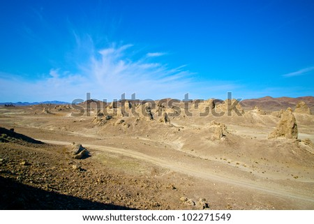Strange rock formations of tufa stand at Trona Pinnacles in the Mojave Desert.