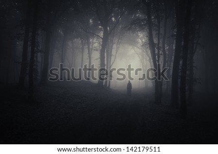 strange silhouette in a dark spooky forest at night - stock photo