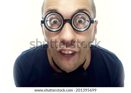 Strange, silly guy in eyeglasses with bow tie